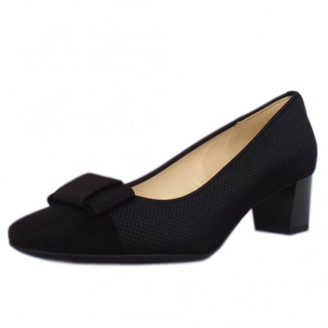 Gristina Plus Fit Black Suede Low Heel Pumps with Bow