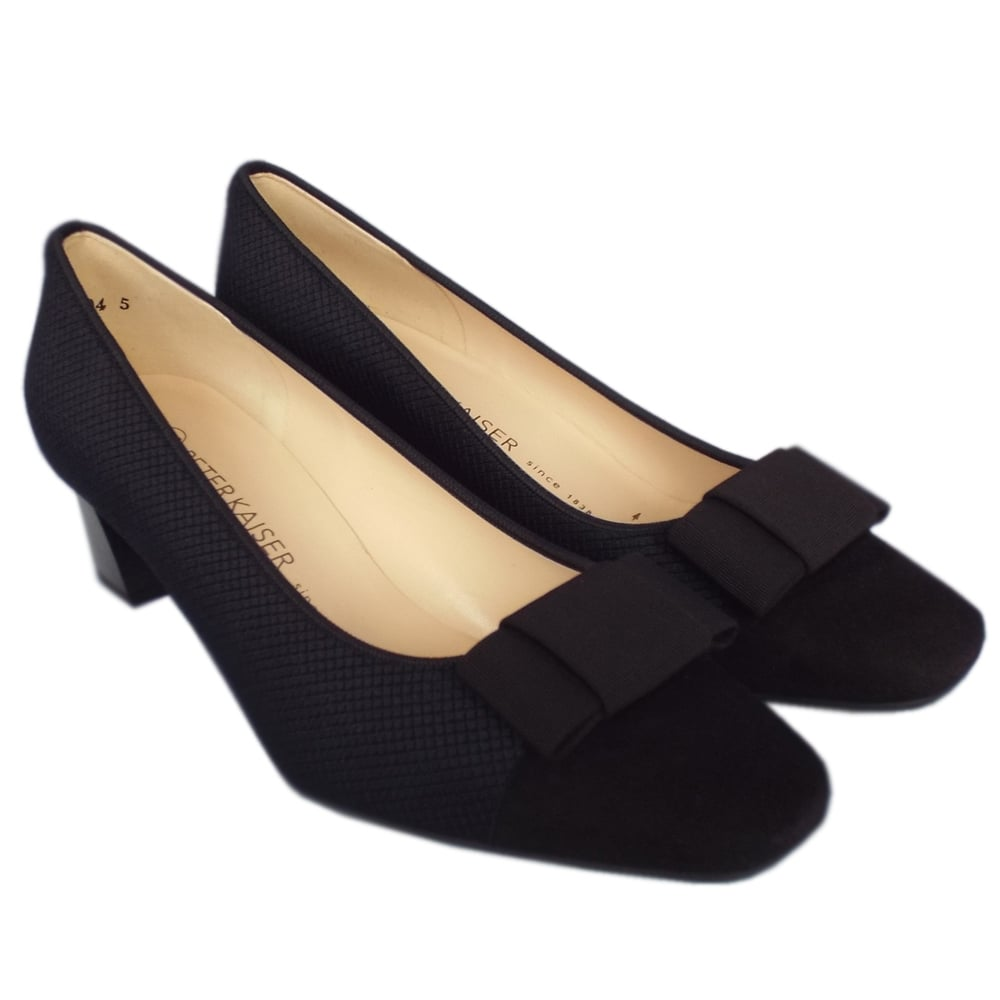 5ace120a08fd ... Gristina Low Heel Wide Fit Shoes in Black Suede ...