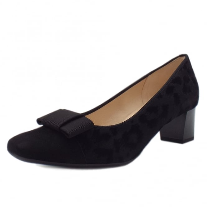 Gristina Plus Fit Black Tulia Low Heel Pumps with Bow