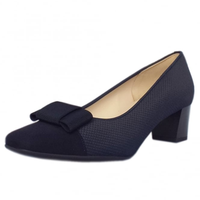 Gristina Plus Fit Navy Suede Low Heel Pumps with Bow