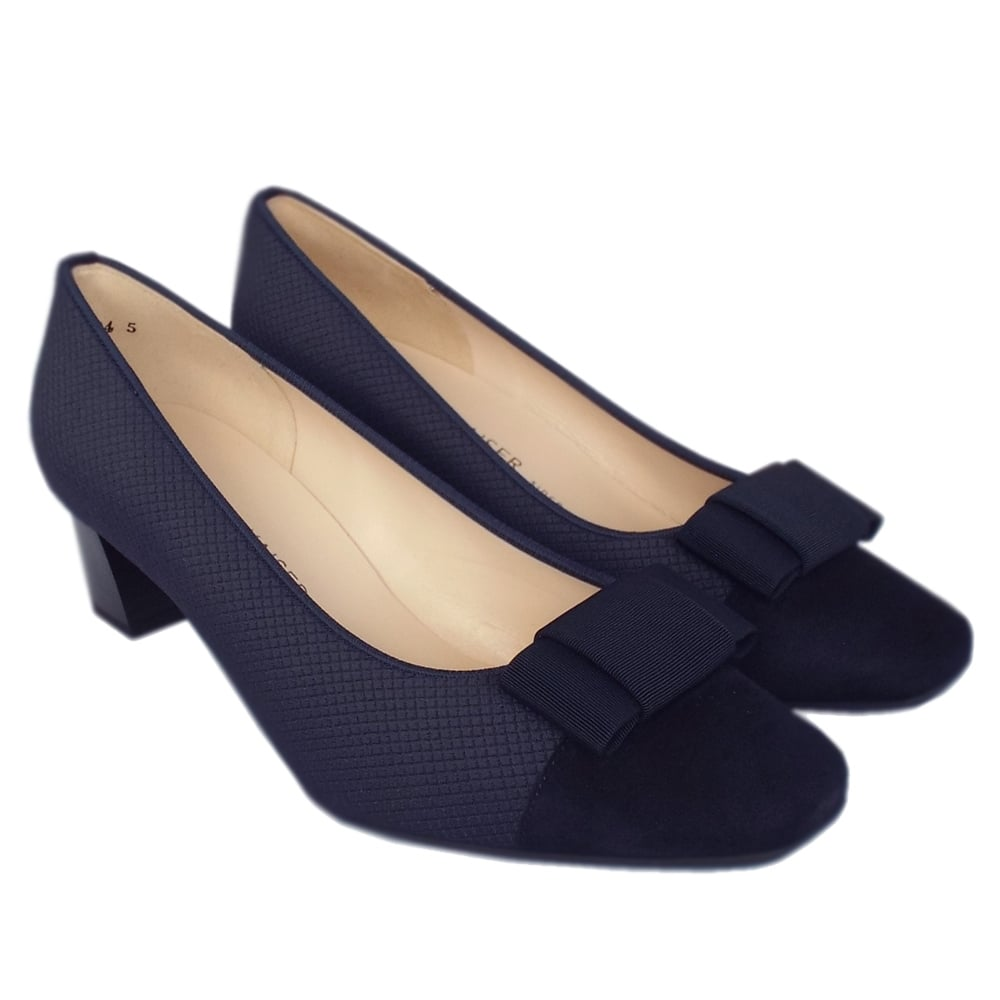 739bc6547 ... Gristina Low Heel Wide Fit Shoes in Navy Suede ...