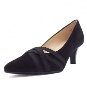 Haissel Black Suede Kitten Heel Fashionable Pumps