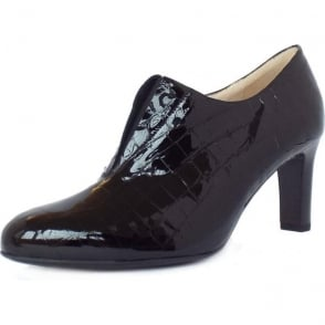 Hanara Black Croc Reptile Efect Black Patent Leather High Top Pumps