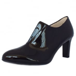 Hanara Black Patent Mid Heel High Top Pumps