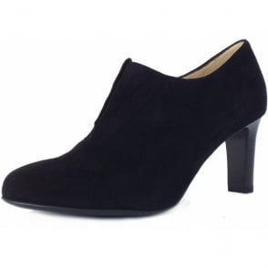 Hanara Black Suede Mid Heel High Top Pumps