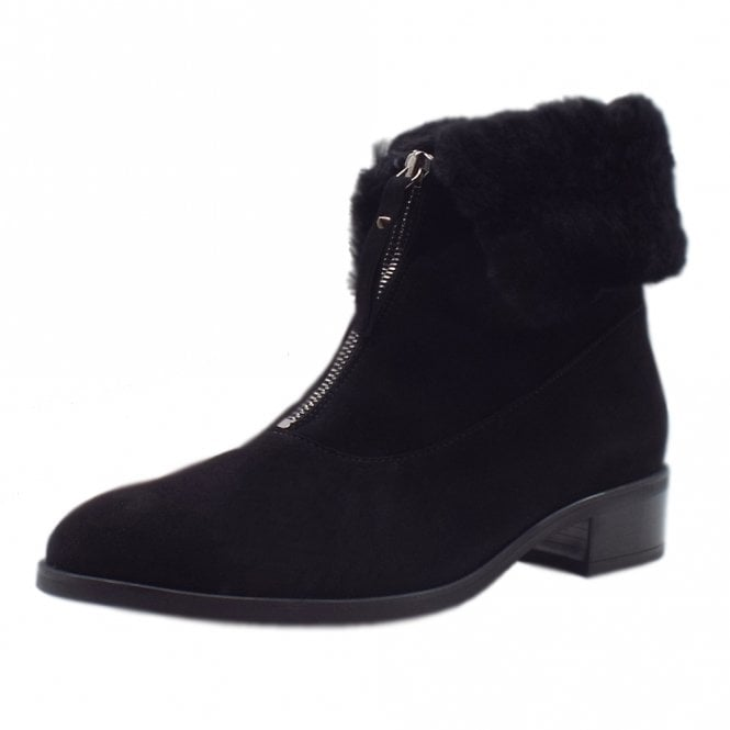 Hania Lambskin Ankle Boot in Black Suede