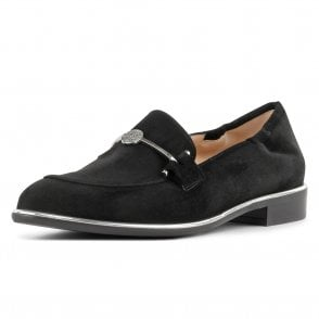 Hanka Stylish Loafer Shoes in Black Suede