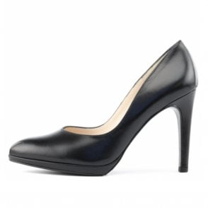 Herdi Stiletto Court Shoes in Black Leather