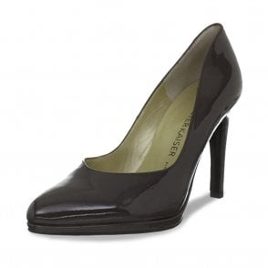 Herdi Stiletto Court Shoes in Brown Patent