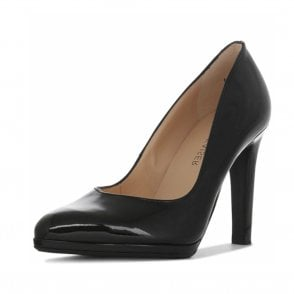 Herdi Women's High Heel Court Shoes in Black Patent