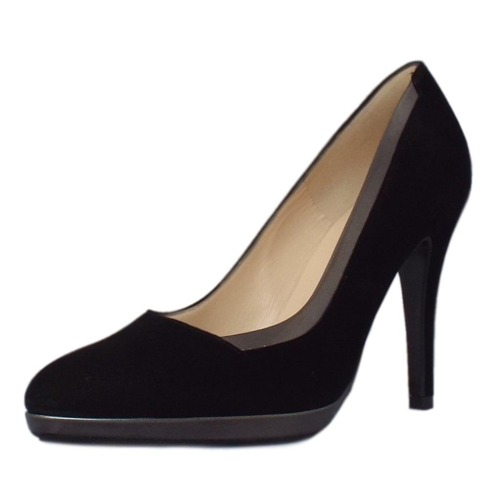 peter kaiser uk hetlin dressy black suede stiletto platform pumps. Black Bedroom Furniture Sets. Home Design Ideas