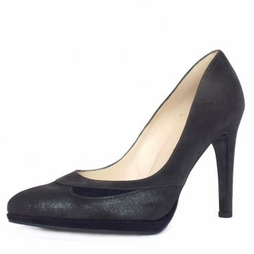 Hilanda Stiletto Shoes in Carbon Grey Suede