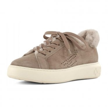 Peter Kaiser Ilka Suede Fur Sneakers in Bone