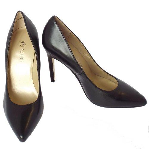 peter kaiser indigo ladies high heel black leather court shoes. Black Bedroom Furniture Sets. Home Design Ideas