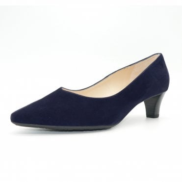 Inja Plus Fit Classic Court Shoes in Navy Suede