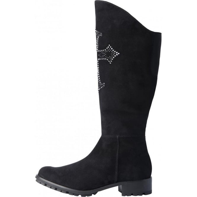 Insea black suede Swarovski Element boots
