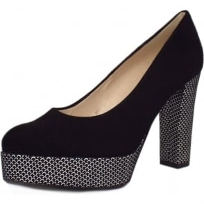 Irmgard Black Suede Block Heel Fashionable Pumps