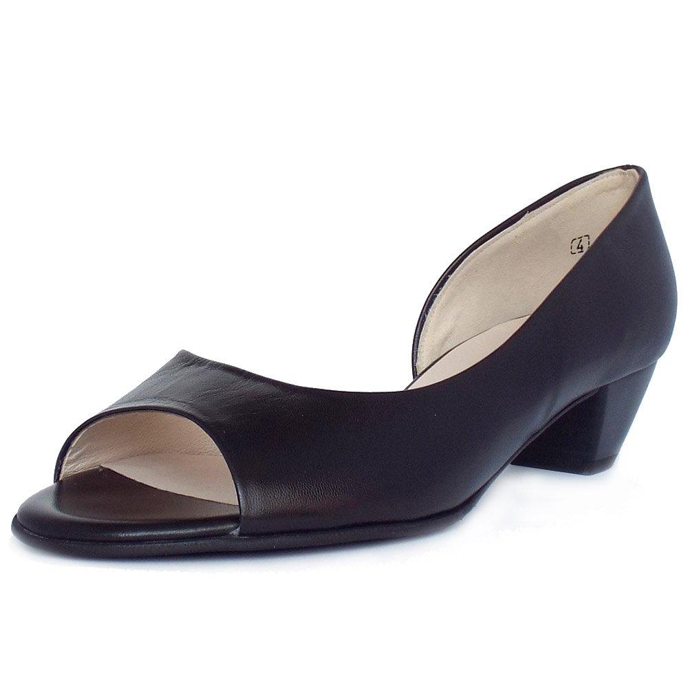 peter kaiser uk itha black leather low heel open toe pumps. Black Bedroom Furniture Sets. Home Design Ideas