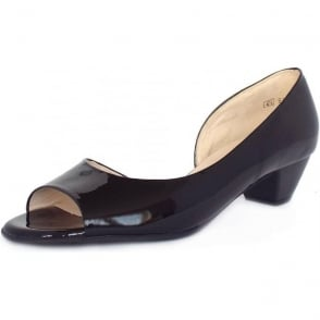 Itha black patent low heel evening shoes