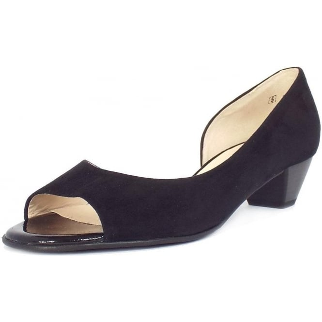 Itha Black Suede Low Heel Open Toe Pumps