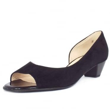 52d04775b8f281 Itha Black Suede Low Heel Open Toe Pumps