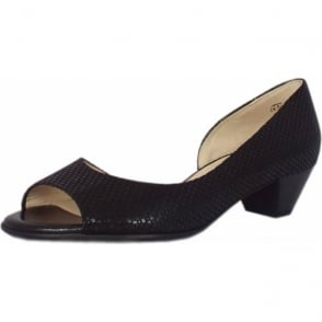 Itha Black Topic Low Heel Open Toe Pumps