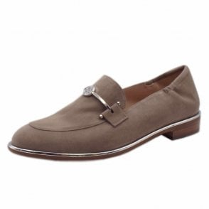 Jaida Smart Loafer Shoes in Taupe Suede