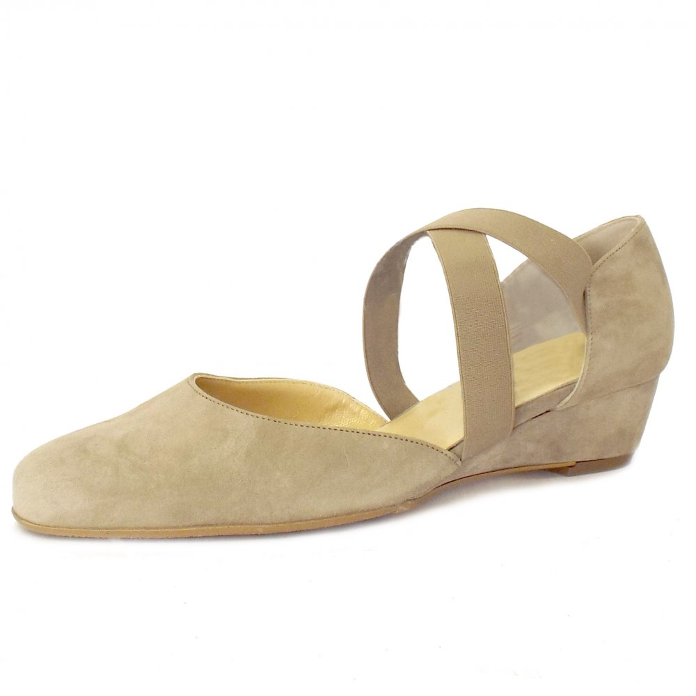 kaiser jaila taupe suede low wedge comfortable
