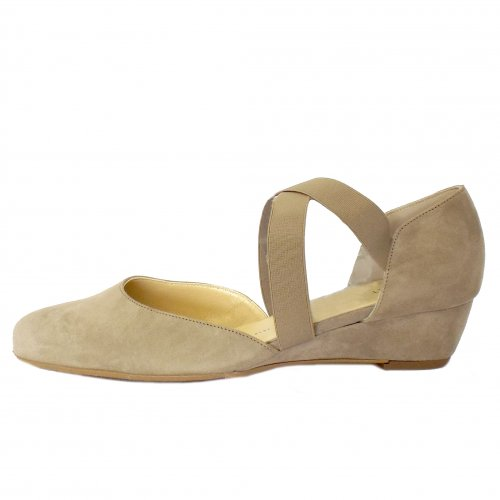 a822d2146e2 ... Jaila Low Wedge Shoes in Taupe Suede ...