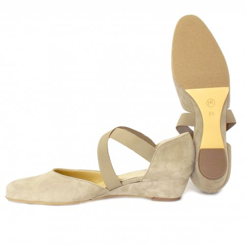 53d7d8364f6 ... Jaila Low Wedge Shoes in Taupe Suede ...