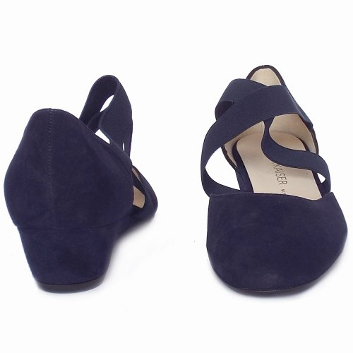 f4e663cb896 ... Jaila Notte Navy Suede Low Wedge Summer Shoes ...