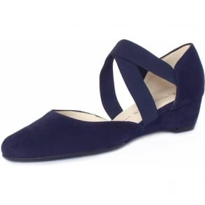 Jaila Notte Suede Low Wedge Summer Pumps