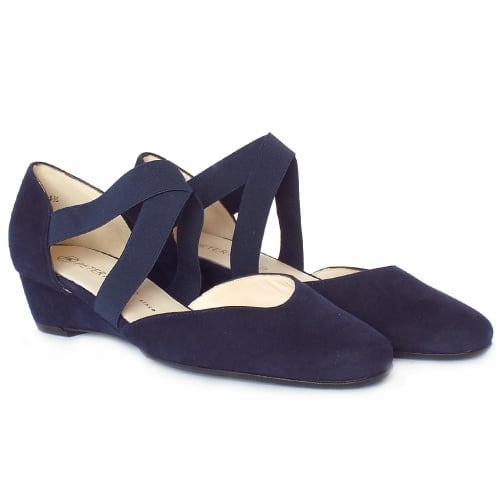 86a1734f101 ... Jaila Low Wedge Summer Shoes in Notte Suede ...