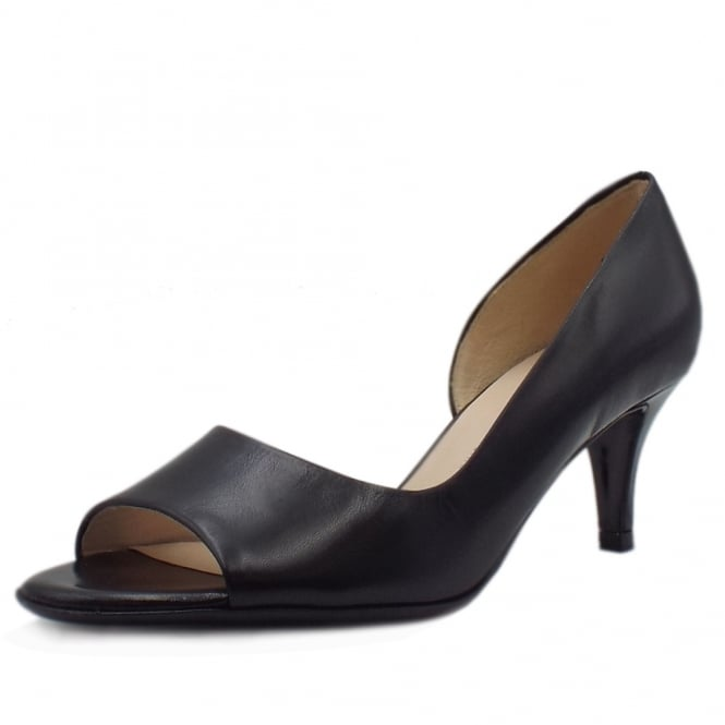 Jamala 18 Black Leather Open Toe Pumps