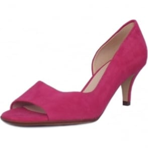 Jamala Berry Suede Open Toe Mid Heel Pumps