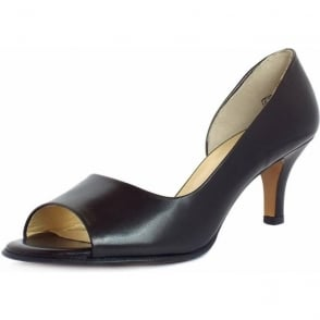Jamala black leather open toe shoes with slim heel