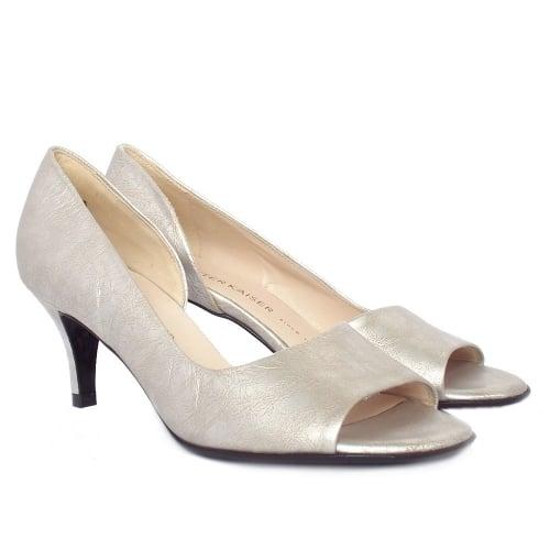 peter kaiser jamala silver furla metallic leather open toe pumps. Black Bedroom Furniture Sets. Home Design Ideas