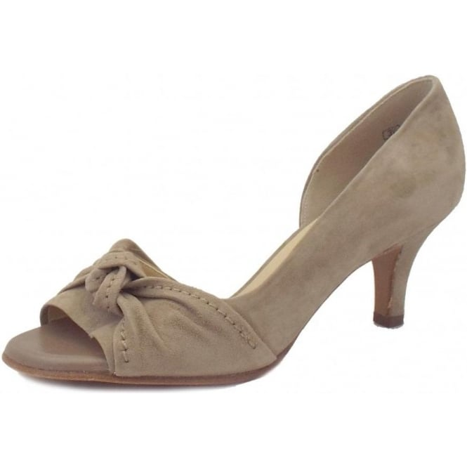 Jamo Open Toe Shoe in Taupe Suede