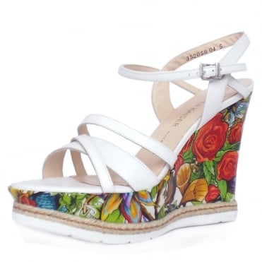 Jenny White Angeles Multi Bluma Exclusive Print High Wedge Heel Sandals