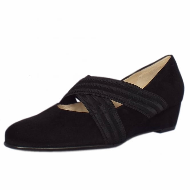 Jeska A17 Black Suede Low Wedge Ballet Pumps With Elasticated Straps
