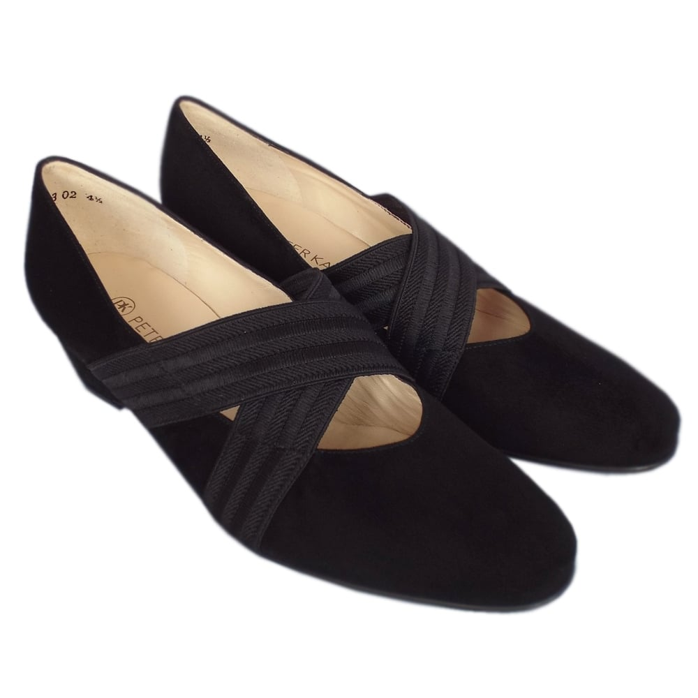 0a6d5ea8520 ... Jeska A17 Low Wedge Ballet Pumps in Black Suede ...