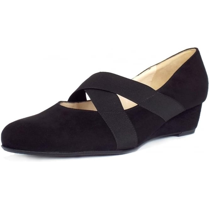 Jeska Black Suede Low Wedge Ballet Pumps With Elasticated Straps