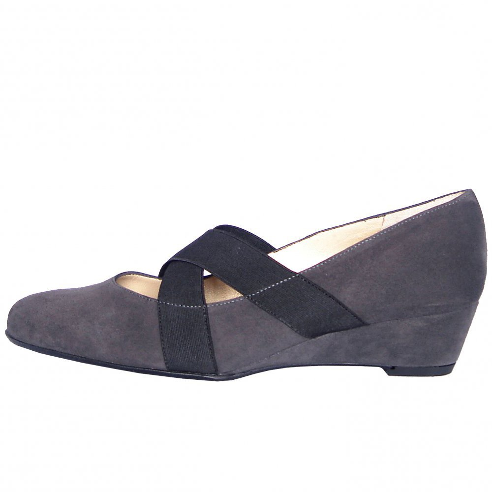 kaiser jeska carbon grey suede stretch shoes