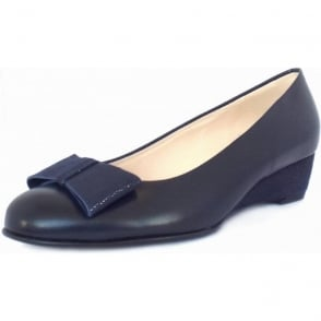 Jimini Navy Leather Lizard Effect Bow Low Wedge Shoes