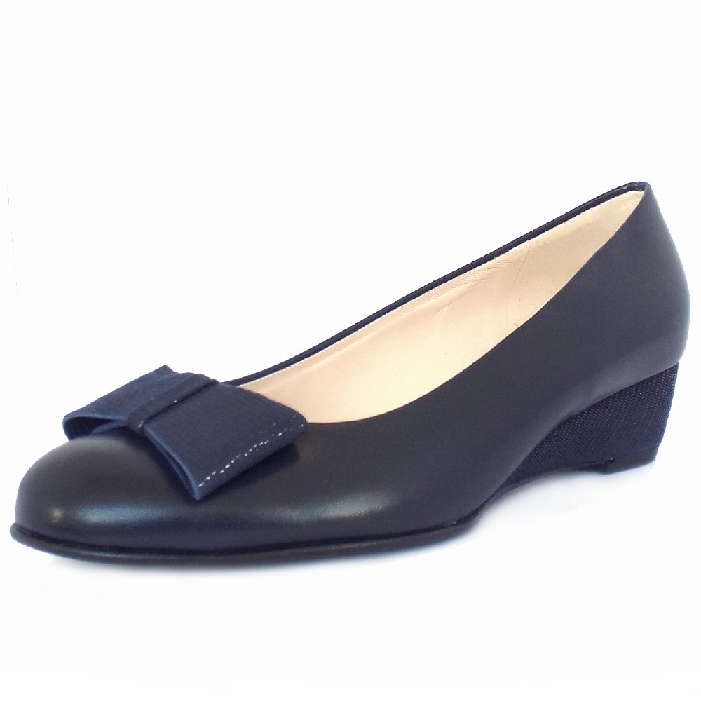 Navy Wedge Leather Shoes Uk