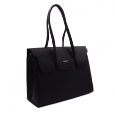 Kaliska Classic Leather Handbag in Black