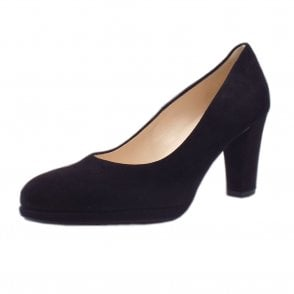 Karolena High Heel Black Suede Court Shoes