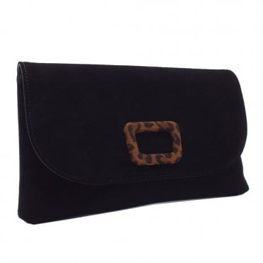 Kasinda Stylish Clutch Bag in Black Suede