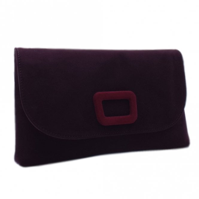 Kasinda Stylish Clutch Bag in Wine Suede