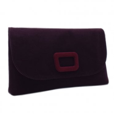 Kasinda Wine Suede Clutch Bag